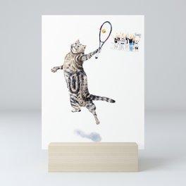 Cat Playing Tennis Mini Art Print