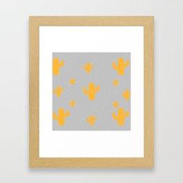 Mustard Cactus White Poka Dots in Gray Background Pattern Framed Art Print