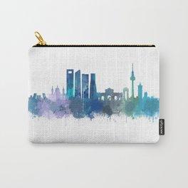 Madrid Spain city skyline watercolor art v03b UHD Carry-All Pouch