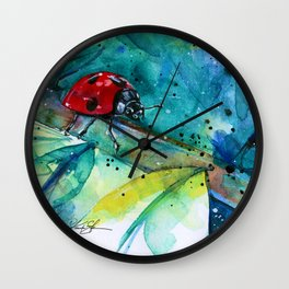 Ladybug - by Kathy Morton Stanion Wall Clock