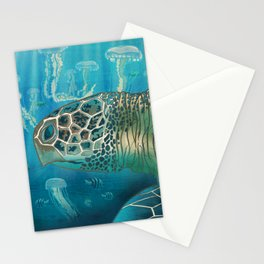 Green Back Turtle Stationery Cards