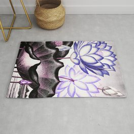 Pink Gray Lavender Sacred Egyptian Bean Temple of Flora Rug