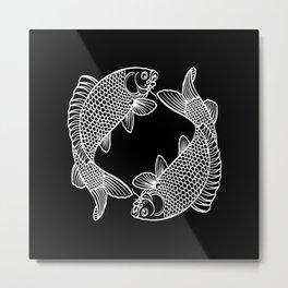Black White Koi Metal Print