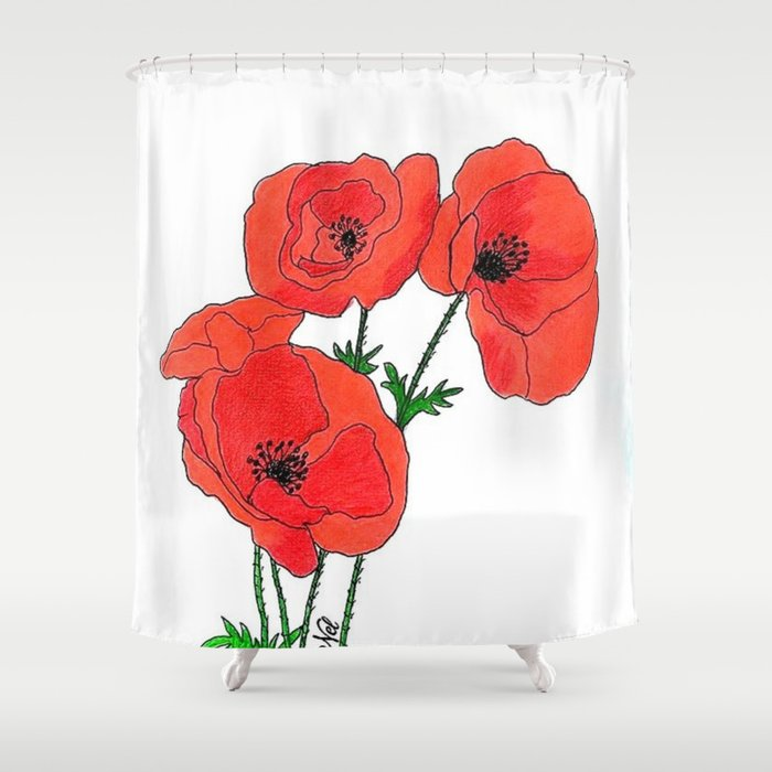 Poppies Shower Curtain By Auxcrayonsdenel