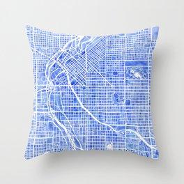 Denver Blueprint City Map Watercolor Throw Pillow
