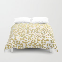 Gold Leopard Animal Print Ink Nature Jungle Exotic Pattern Duvet Cover