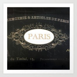 Paris Black White Gold Typography Home Decor Art Print
