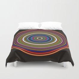 Colorful centered circles on black Duvet Cover