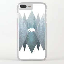 Misty Forest Mountain Bear Clear iPhone Case