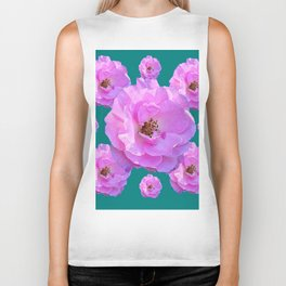 Pink Wild Roses on Teal Color Biker Tank