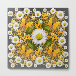 GREEN FROGS & YELLOW  BUTTERFLY WHITE DAISIES Metal Print