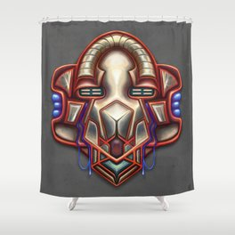 Summer Totem Red Shower Curtain