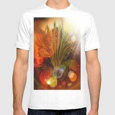 Tropical plants and flowers White MEDIUM Mens Fitted Tee