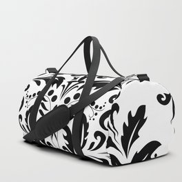 Bold Black & White Damask Pattern Duffle Bag