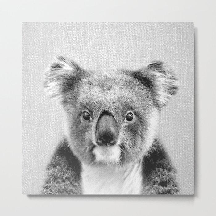 Koala - Black & White Metal Print