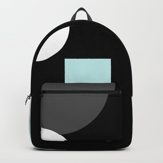 An abstract geometric pattern . Geometric shapes . Black sky blue white pattern . Backpack