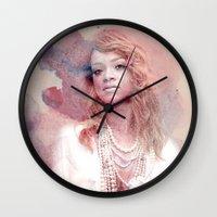 rihanna Wall Clocks featuring Rihanna by Kanelko