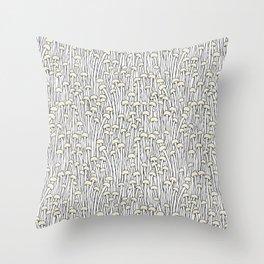 Enokitake Mushrooms (pattern) Throw Pillow