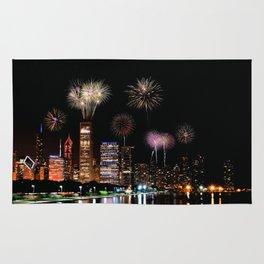 Chicago night skyline with fireworks. Rug