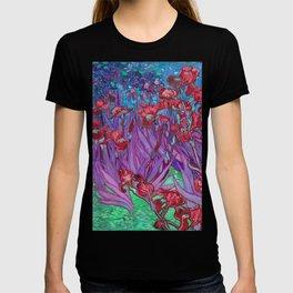 Vincent Van Gogh Irises Painting Cranberry Purple Palette T-shirt