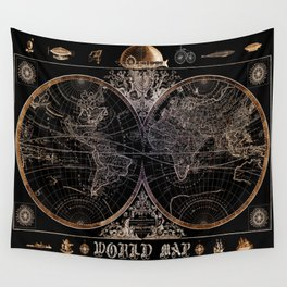 world map old vintage black Wall Tapestry