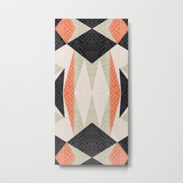 Faux-Textured Mid Mod Geo Dark Salmon Metal Print