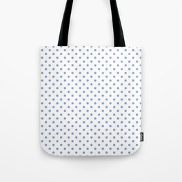 Polka dots Blue dots over white Tote Bag