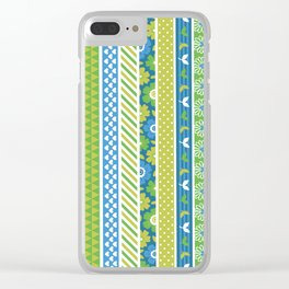 Geometrical lime green blue floral stripes patterns Clear iPhone Case