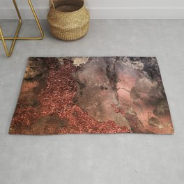 Copper Glitter Stone and Ink Abstract Gem Glamour Marble Rug
