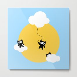 Ninja cats in the sky Metal Print
