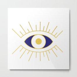 Evil Eye Navy and Gold Metal Print