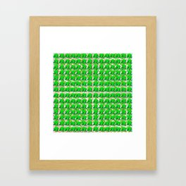 Four leaf clovers and gold horseshoes with green hat that are lucky for some Framed Art Print