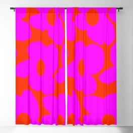 Pink Retro Flowers Orange Red Background #decor #society6 #buyart Blackout Curtain