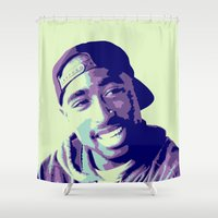 tupac Shower Curtains featuring Tupac by victorygarlic - Niki