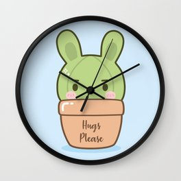 Boyish bunny cactus Wall Clock