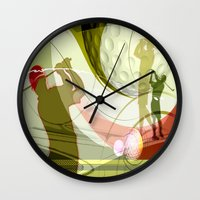 golf Wall Clocks featuring Golf by Robin Curtiss