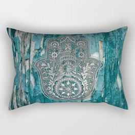 Silver Hamsa Hand On Turquoise Wood Rectangular Pillow