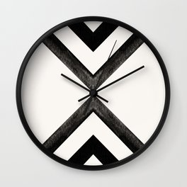 Converging Triangles Black and White Moroccan Tile Pattern Wall Clock