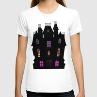 haunted mansion T-shirts featuring Haunted Silhouette Rainbow Mansion by rainbowdreams