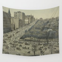 Vintage Pictorial Map of Central Park, 5th Avenue & 59th Street (1886) Wall Tapestry