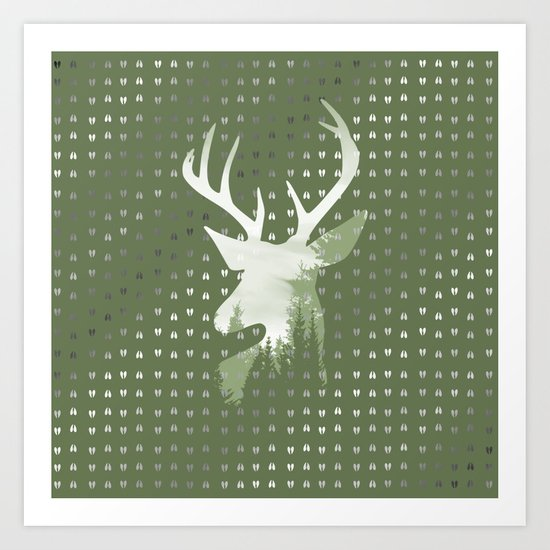 Green Deer Abstract Footprints Landscape Design Art Print