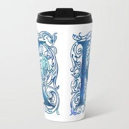 Letter K Antique Floral Letterpress Travel Mug