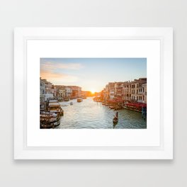 GRAND CANAL SUNSET VENICE ITALY PHOTOGRAPHY Framed Art Print