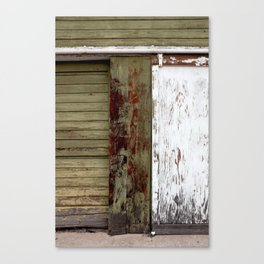 Green and White Door Canvas Print