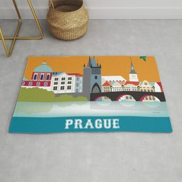 Prague, Czech Republic - Skyline Illustration by Loose Petals Rug