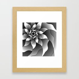 Black and grey pinwheel Framed Art Print