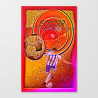 soccer Canvas Prints featuring Soccer by Ticopage designs
