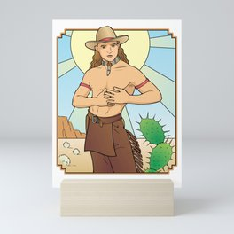 Demure Cowboy Love Mini Art Print