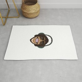 Cool Monkey With Sunglasses And Headphones Rug