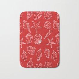 Red and white seashells pattern Bath Mat